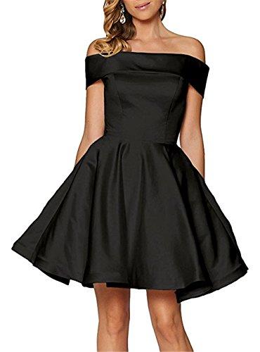 YSMei Women's Off Shoulder Satin Formal Dress A Line Short Homecoming Dress for Juniors Empire Waist Evening Ball Gown Black 06