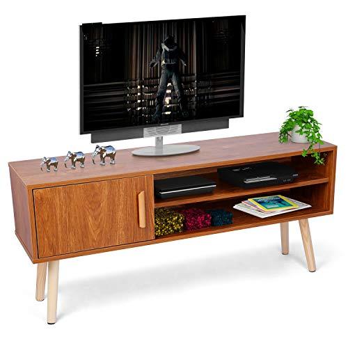 amzdeal TV Schrank Fernsehtisch für TV bis 50 Zoll,112x30x25.5cm,Fernsehschrank Holz mit Kabelloch-Design,Fernsehtisch für Wohnzimmer,TV Möbel Lowboard Tischmit Schranktür und 2 Regalen,Braun