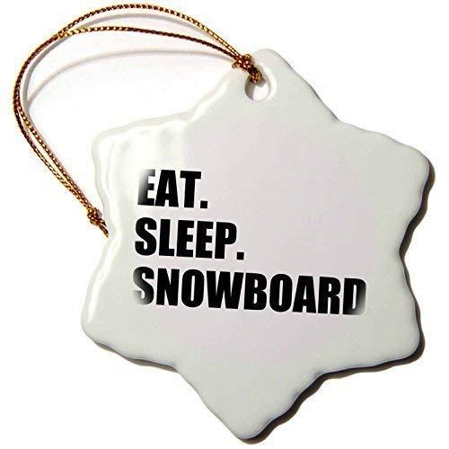 DKISEE Eet Slaap Snowboard Snowboarden Enthousiaste 3 Inch Sneeuwvlok Keramisch Opknoping Ornament Kerstmis Boom Ornament