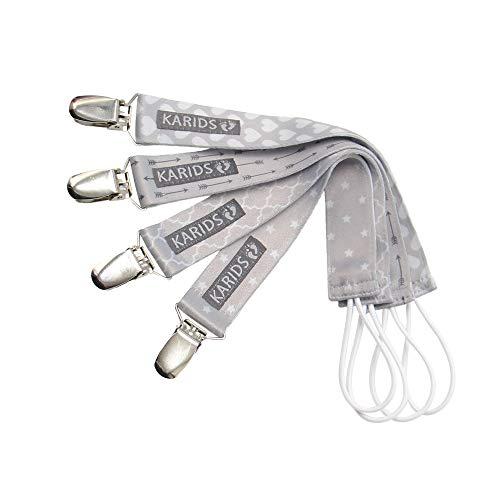 Karids 4er Set Unisex Schnullerkette Baby Schnullerband – Nuckelketten Junge Mädchen Schnullerketten für Kleinkinder, 4er Set Schnullerbänder in Grau