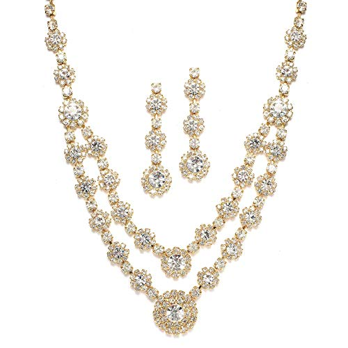 Mariell Gold Two-Row Rhinestone Crystal Necklace and Earrings Set - Prom, Brides and Bridesmaids Jewelry