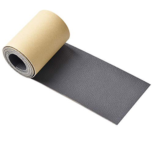 Leather Tape 3X60 Inch Self-Adhesive Genuine Leather Repair Patch for Sofas, Couch, Furniture, Drivers Seat (Gray)