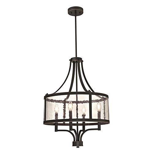 Westinghouse Lighting 6368400 Belle View Lámpara de techo de cuatro luces para interiores, acabado en bronce aceitado con detalles y vidrio transparente semilla
