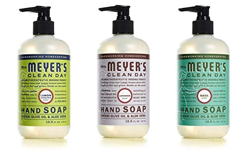 MRS. MEYER'S CLEAN DAY Liquid Hand Soap 3 Scent Variety Cruelty Free and Biodegradable Hand Wash Made with Essential Oils Basil Lemon Verbena Lavender 12.5 Each, 1 Pack (3 Bottle variety), 37.5 Fl Oz