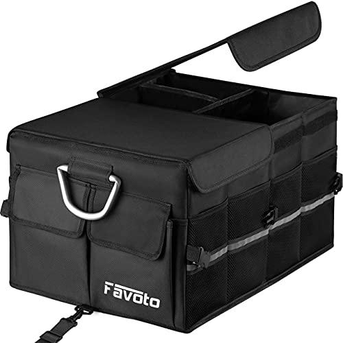 Favoto Auto Kofferraum Organizer Kofferraumtasche mit klappbarem Deckel Reflektorstreifen Robust Oxford-Material Wasserdicht Autotasche Box für Limousine SUV Schrägheck...