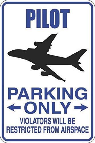 Fhdang Decor Pilot Parking Only Metallschild aus Aluminium, Metall, Multi, 8x12 inches