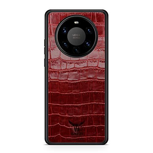 GAZZI Lederhülle für Huawei Mate 40 PRO Hülle Hülle Schale Backcover Handyhülle Schutzhülle Echt Leder, R&umschutz, Flexible Schale (Kroko Rot)