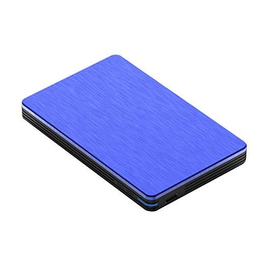 LIRONG 2.5 Pulgadas Disco Duro Impermeable, Disco Externo Portátil, Almacenamiento de Ordenador Portátil, Metal Disco Duro Móvil, 3.0 Transmisión de Alta Velocidad USB,Blue,2TB