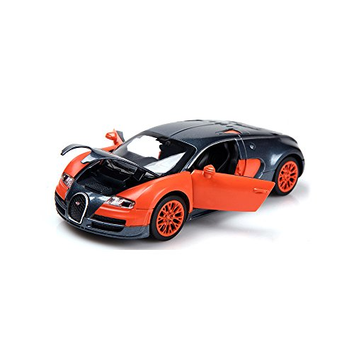 ZHMY 1:32 Bugatti Veyron Alloy Diecast car Model Collection Light&Sound (Orange)