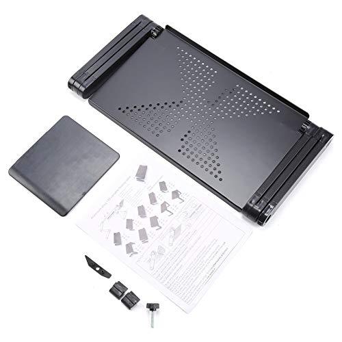 Mesa plegable portátil plegable ajustable para ordenador portátil, mesa para ordenador portátil, bandeja para sofá cama negro, color: rojo con dos ventiladores (color negro con un gran ventilador)