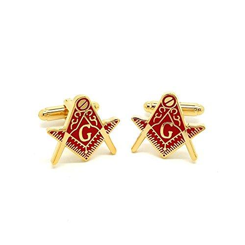 BOBIJOO Jewelry - Boutons de Manchette Franc Maçon Laiton Doré à l'or Fin Email Rouge Maçonnerie Masonic Freemason