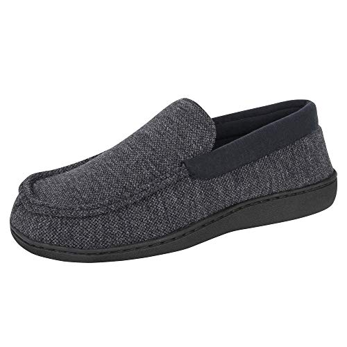 Hanes Mens Slippers House Shoes Moccasin Comfort Memory Foam Indoor Outdoor Fresh IQ,Navy/Blue,Large