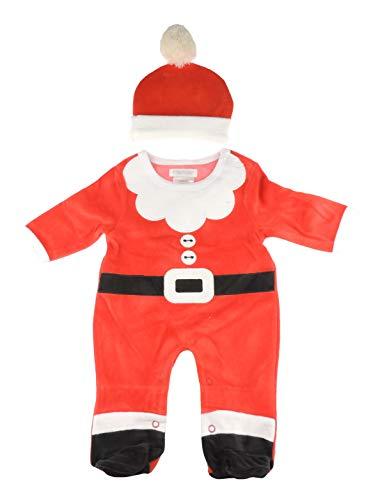 Glamour Girlz Grenouillère en velours pour bébé fille et garçon avec chapeau de Père Noël rouge (3–6 mois)