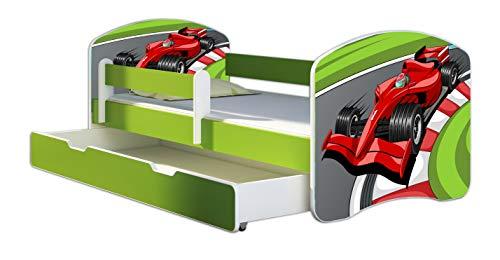ACMA Letto per Bambino Cameretta per Bambino con Materasso Cassetto II VERDE (06 Formula 1, 160x80 + Cassetto)