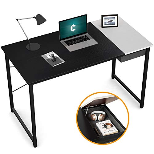 Cubiker Computer Desk 47' Home Office Writing Study Laptop Table, Modern Simple Style Desk with Drawer, Black White