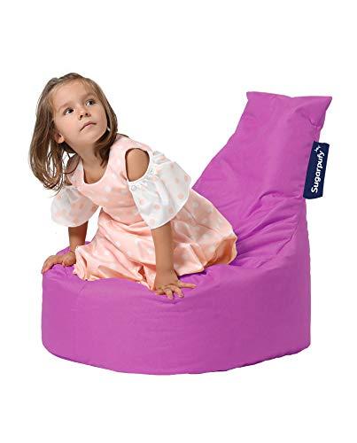 Sugarpufy Sitzsack mit Lehne - Bequemer Bean Bag mit Rückenlehne als Sitzkissen & Sessel mit Füllung - Reißverschluss zum Befüllen - Wasserfester Bezug - Indoor & Outdoor für Kinder - Rosa