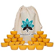 Beeswax Tea Lights Candles Pure, Hand-Poured Refills with Reusable Glass Candle Holders in Organic Cotton Gift Bag Eco Friendly Gift Set (24)