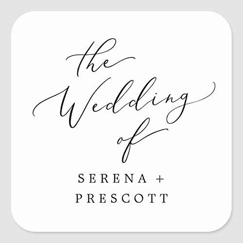 Etiquetas de boda para regalos, delicada caligrafía negra, sellos de boda autoadhesivos, cuadrados para bolsas de boutique, bolsas de mercancía
