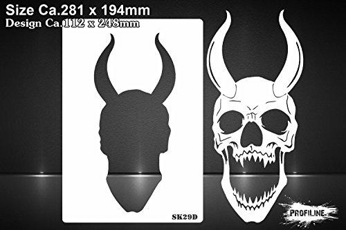 Airbrush Schablone gehörnter Totenkopf - Skull Horn Stencil