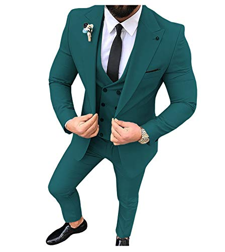Traje de hombre de 3 piezas, ajustado, para hombre (azul + chaleco + pantalones) verde petróleo 38