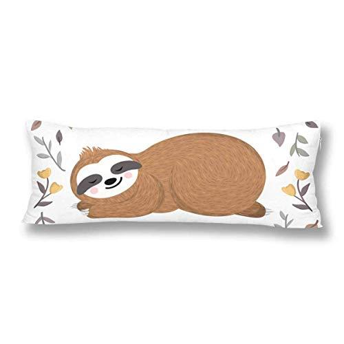 CiCiDi Seitenschläferkissen Kissen-Bezug 40x145 cm Niedliche Baby Sloth Sleeping Blumen Blätter Atmungsaktives Kissenhüllen mit Reißverschluss Baumwollen und Polyester