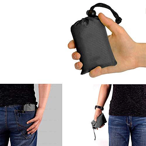OurLeeme Pocket Picnic Blanket, 1.4 x 2M Taille de Poche Portable Tapis de Camping imperméable Grandes couvertures de Pique-Nique Tapis léger extérieur pour Camping (Noir)