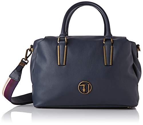 Trussardi Jeans Rabarbaro Satchel Bag, Borsa a Mano Donna, Blu (Dark Blue), 32x21x14 cm (W x H x L)