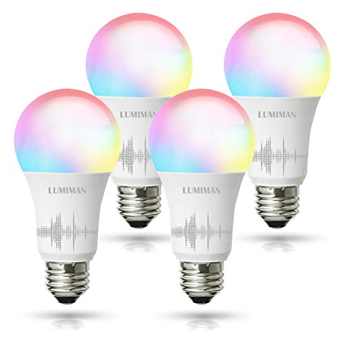 Smart WiFi Light Bulb, Led RGB Color Changing, Work with Amazon Alexa and Google Assistant, No Hub Required, A19 E26 Multicolor LUMIMAN (4 Pack RGBCW Smart Bulb (New Version))