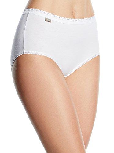 Playtex Coton Midi, Culotte Taille Haute Femme, Blanc (Blanc), 48, Lot de 2
