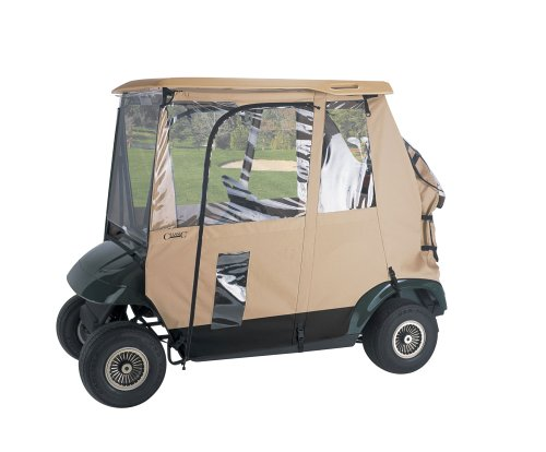 Classic Accessories Fairway Deluxe 3-Sided 2-Person Golf Cart Enclosure, Tan