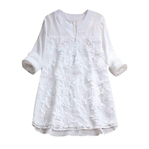 TEBAISE Damen Leinenkleid Vintage Frühling und Sommer Kleid Baumwollleinen Rundhals Lose Rundhals Kurzarm Kleider mit Taschen Retrokleid