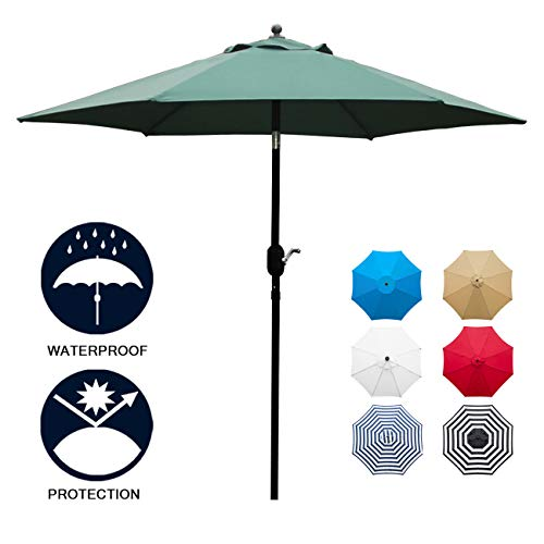 Sunnyglade 7.5' Patio Umbrella Outdoor Table Market Umbrella with Push Button Tilt/Crank, 6 Ribs (Dark Green)