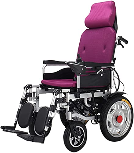 MENG Electric Wheelchair Folding Lightweight Full Reclining Standing Electric Wheelchair Manual Backrest Adjustment Four-Wheel Walker for The Elderly and The Disabled,Purple