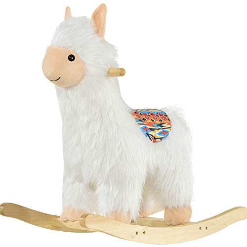 Qaba Kids Ride-On Rocking Horse Toy Sheep Style Rocker with Fun Music & Soft Plush Fabric for Children 18-36 Months