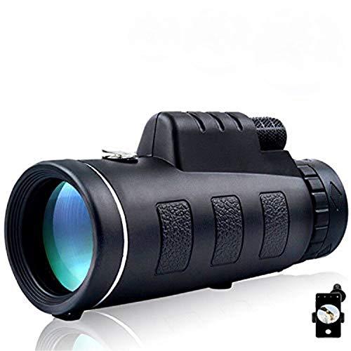 WUHX 40X60 Alta Definición Telescopio Monocular con Soporte para Smartphone y Trípode Tarscopio Monocular Impermeables Binoculares para la Observación de Aves Viaje