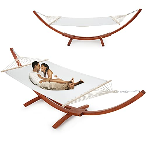 ECOTOUGE 13.3 FT Wooden Double Hammock with Stand 2 Person Heavy Duty, Easy Assemble, Weatherproof...