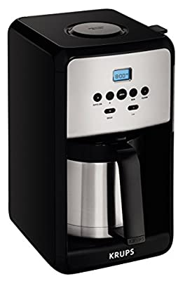 KRUPS EC311 SAVOY Programmable Digital Coffee Maker Machine with Glass Carafe and LED Control Panel, 12-Cups, Black from Groupe SEB