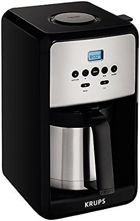 KRUPS EC311 SAVOY Digital Programable máquina de café eléctrica con jarra de vidrio y Panel de control LED, 12-copas, Negro, Garrafa aislante de acero inoxidable, Plateado/Negro