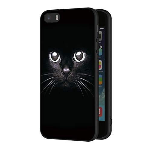 ZhuoFan Funda iPhone 5s, iPhone SE Cárcasa Silicona Ultrafina Negra con Dibujos Diseño Suave TPU Antigolpes de Protector Piel Case Cover Bumper Fundas para Movil Apple iPhone 5se, Gato Negro