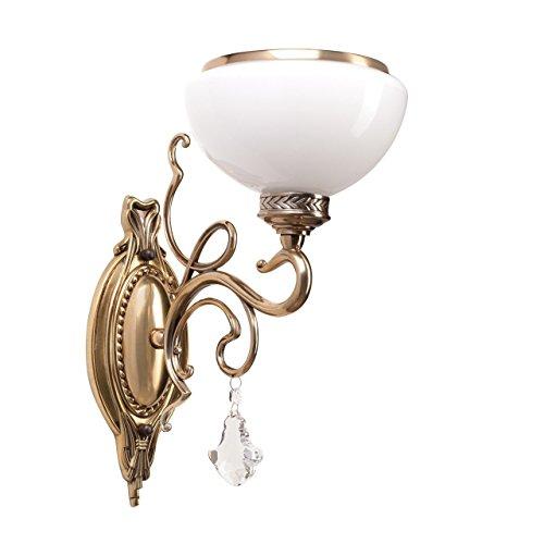 EOUBY Vintage Schmiedeeiserne Goldene LED Wandlampe, Europäische Geschnitzte Einzelkopf Nachttisch Wandleuchte Wandleuchte Plug-In Kristall Anhänger Kunst Lampe Milch Weiß Glaswand Lichter