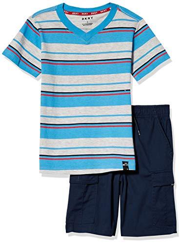 DKNY Boys' Shorts Set, Multi Color Stripe Navy, 4