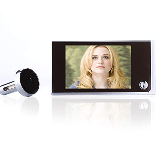 Timbre de video inalámbrico, timbre de pantalla táctil LCD de 3.5 pulgadas, cámara de mirilla digital con visión nocturna + gran angular + grabación de video + toma de fotos