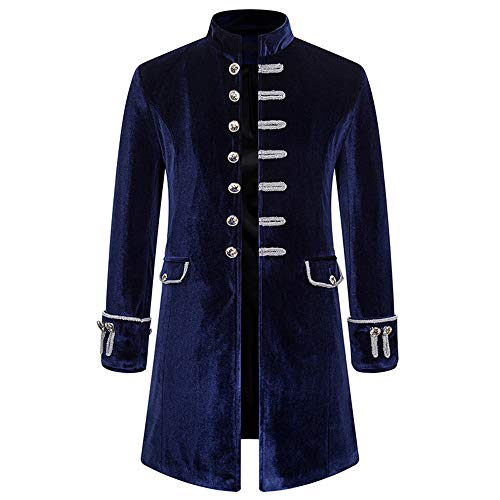 BEIXUNDIANZI Men's Long Coat Steampunk Tailcoat Gothic Stand-Up Collar Medieval Jacket Victorian Renaissance Coat Costume Stage Costume Performance Costume S Navy
