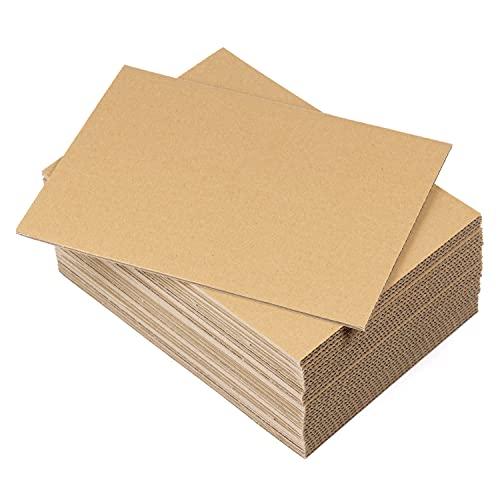Lot de 30 planches en carton ondulé A4 (210 x 297 mm) - Feuilles en carton ondulé rigide - 4 mm - Marron kraft - Pour travaux manuels, expéditions, boîtes, maquettes