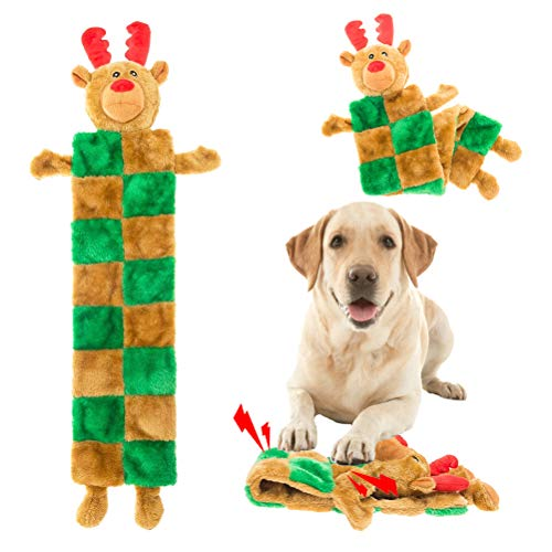 Christmas Dog Squeaky Toys - Cute Xmas Reindeer Dog Plush Mat Toy, Unstuffed Dog Chew Toys for Small Medium Large Dogs Teething
