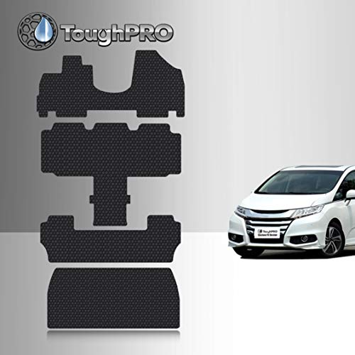 TOUGHPRO Floor Mat Accessories 1st + 2nd + 3rd Row + Cargo Mat Accessories Compatible With Honda Odyssey (7 Passenger) - All Weather-Heavy Duty- Black Rubber - 2011, 2012, 2013, 2014, 2015, 2016, 2017