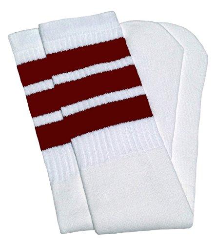 skatersocks 22 Inch Tube Socken weiß maroon gestreift Skater Socken Unisex Damen und Herren