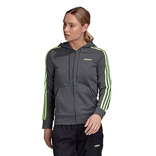 adidas W E 3S FZ HD, Felpa Donna, Dark Grey Heather/Signal Green, M