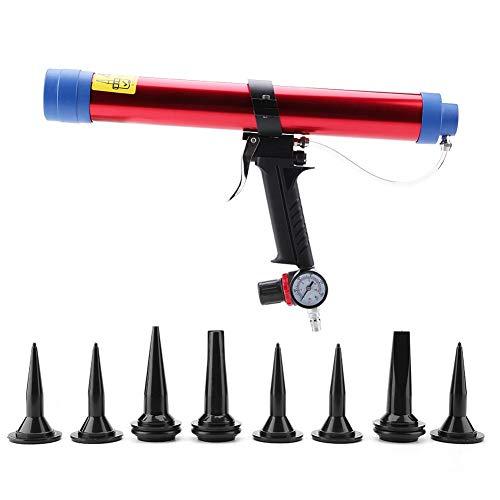 Pneumatische Glaskleber Versiegelung Kartuschenpistole Luftpistole 300~600ML mit 8 Stück Caulking Head