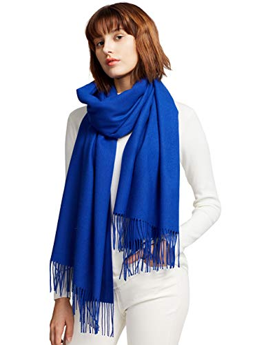 MaaMgic Womens Large Soft Cashmere Feel Pashmina Shawls Wraps Light Scarf, Royal Blue